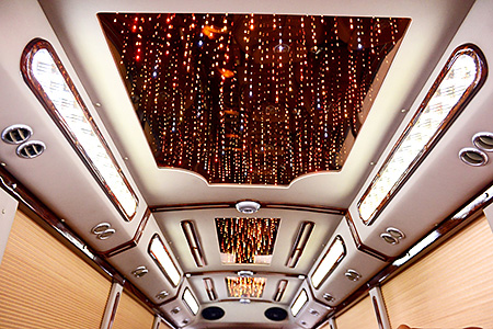 The luxurious interiors of the limousine bus